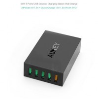 Sạc Nhanh Aukey 5 Cổng USB 54W (USB Charging Station IP power Quick Charge 2)